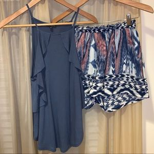 Tank Top and Aztec Patterned Shorts Set